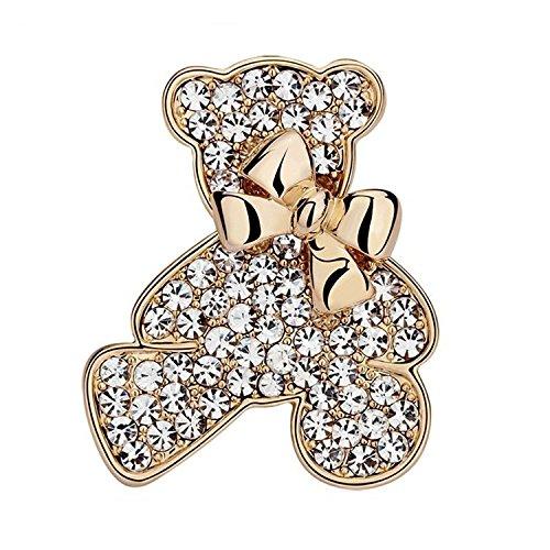[해외]BORDER. 테디 베어 리본 브로치 금색 (골드) 클리어 라인 스톤 곰 모티브 약 3.5cm 원 포인트 핀 배치 액세서리 아이 드레스 선물 제품 보증 30 일/BORDER. Teddy Bear Ribbon Brooch Gold (Gold) Clear Rhinestone Bear Ms. Motif 3.5 cm One Point...