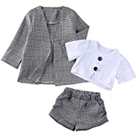 AUESTIE Baby Girl Top Shirt + Pants + Long Sleeve Coat Set, Toddler Autumn Outfit Fall Jacket Outfit Kit for 1-6 Years Old