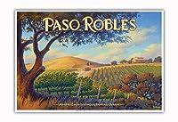 パソロブレス・ワイナリー - サンルイスオビスポ - セントラルコーストAVAブドウ園 - カリフォルニアワインカントリーアート によって作成された カーン・エリクソン - アートポスター - 33cm x 48cm