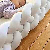 赤ちゃん ベッドレール, 4 ストランド 手作り編み 織 結び目 ベッドガード 反衝突 リムーバブル 枕 クッション-ホワイト L:220cm(87inch)