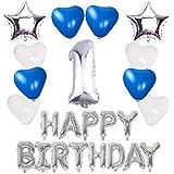 【Shiseikokusai 】 HAPPY BIRTHDAY 風船 お子様誕生日パーティー 豪華 誕生日 飾り付け セット シルバー(ff-y01)