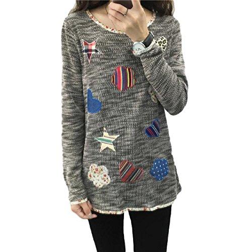 [해외](YAMSSY) 여성 아플리케 원피스 코튼 니트 니트 귀여운 긴팔 여성/(YAMSSY) Feminine Applique Tunic Cotton Knit Cut and sewn Lovely Long Sleeve Women`s