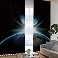 3 D地球と明るい星のストックイメージとファンタジーの惑星 1級遮光 ドレープカーテン 全色 おしゃれ UVカット 断熱 昼目隠し UVカット 寝室 大広間 遮熱 2枚組 幅150cm丈178cm レッド