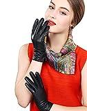 【SEBLES】レディース手袋 秋冬 革 あたたかい かっこいい 大きなサイズ 無地 シンプル 大人 (L, ブラック)