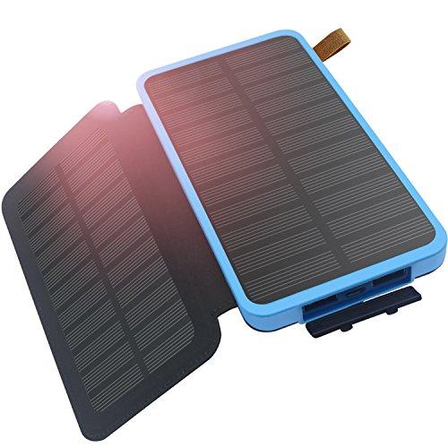 ソーラーチャージャー, FEELLE 大容量 モバイルバッテリー ソーラー 防水 2枚 ソーラーパネル 災害 旅行 アウトドア用 iPhone iPad スマホ samsung に対応 2USBポート ソーラー 充電器 (ブルー)