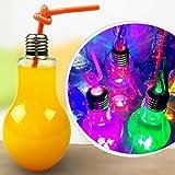ウォーターボトル用電球ランプ 透明プラスチック製 電球型ドリンクジュースボトル パーティーの記念品 ストローは含まれません