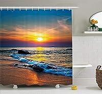 クラウドDreamホームカラフルな日の最後のsunlights over the sea wavesシャワーカーテン、防水とMildewproofポリエステル生地バスカーテンデザイン 60x72 Cloud Dream Home