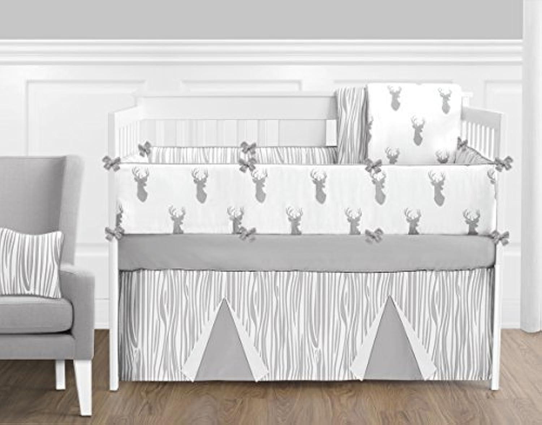 Sweet Jojo Designs 9-Piece Grey and White Woodland Deer Baby Boys Crib Bedding Set with Bumper [並行輸入品]