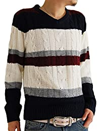 (アーケード) ARCADE メンズ ニット セーター 秋 冬 Vネック ケーブル編み ニットセーター