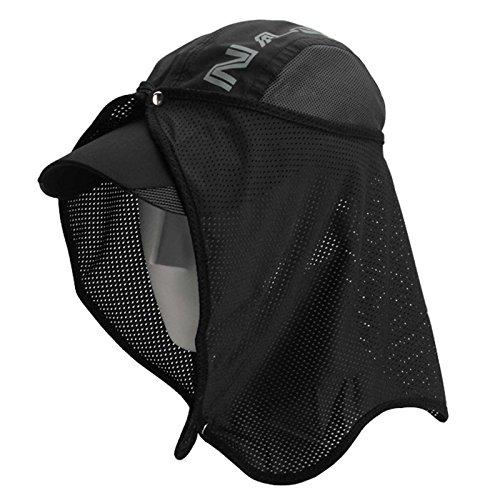 NASKA UV Cut Sunshade 帽子付紫外線カットサンシェード 紫外線カット 登山、サイクル、ゴルフ、ジョギング、釣り、野外活動の必需品 (Black)