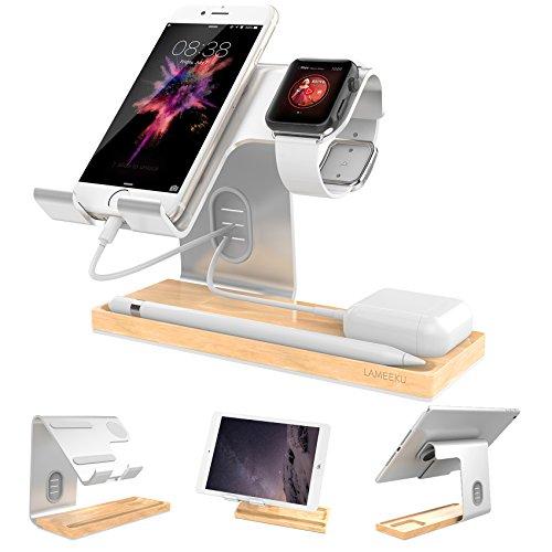 iphone スタンド Phone スタンド LAMEEKU® スマホ スタンド Apple watch スタンド ホルダー iWatch スタンド タブレット スタンド アルミニウム合金&木製 Android&iphone 携帯電話 iPhone X 10 8 plus 7 plus 6 6s plus 5 5s se,ipad Nexus 7 REGZA Xperia Galaxy LG SONY Kindle Nintendo Switch対応(シルバー)