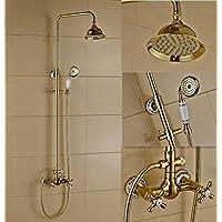 ヨーロッパスタイルレトロゴールドブロンズ雨のBathのすべての部屋でシャワーミキサーセットコンボ壁の雨シャワーヘッドシャワーガラスシステム継手