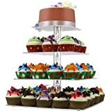 4 Tier Square Cupcake Stand, Clear Acrylic Cake Stand for Wedding Birthday Party, Dessert or Pastry Tower Display with Unique Bubble Rod - NewCrea