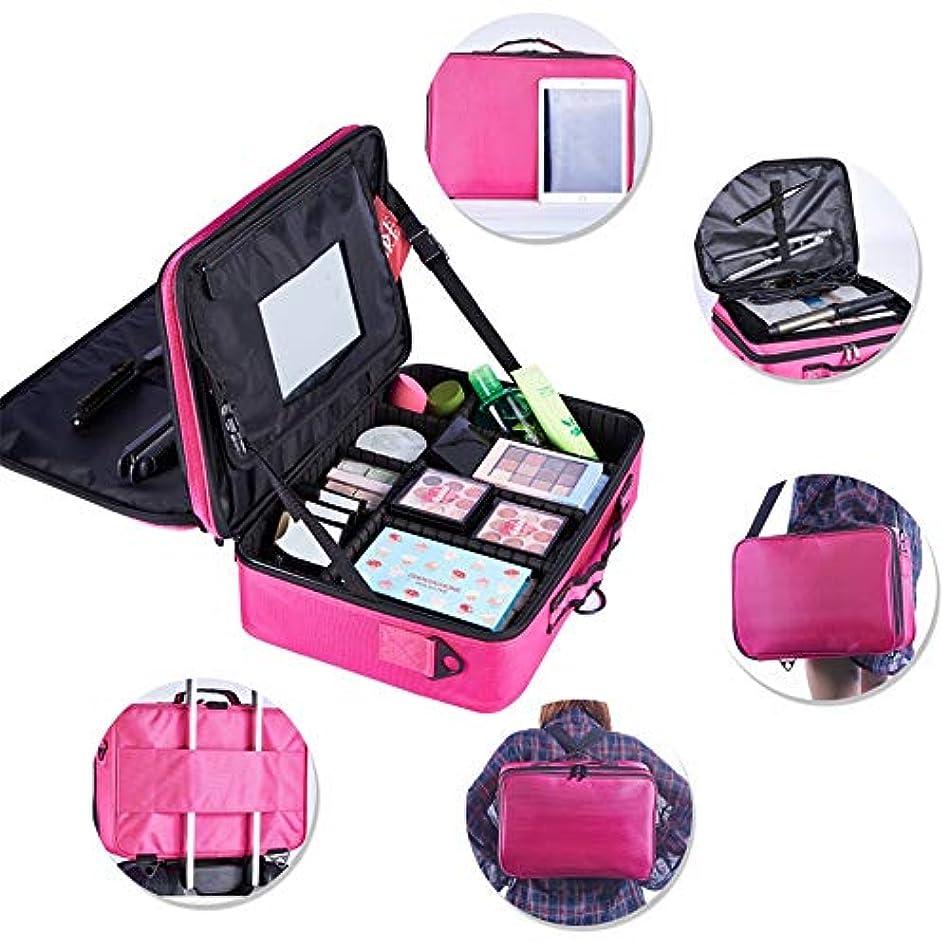 特大スペース収納ビューティーボックス 携帯用化粧の電車の箱美のためのそして女の子のための女性旅行および錠および折る皿が付いているアルミニウムフレームが付いている毎日の貯蔵 化粧品化粧台 (色 : 赤)