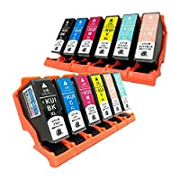 EPSON KUI(XL)-6PK(BK/C/M/Y/LC/LM) 洗浄KUI(XL)-6PK(BK/C/M/Y/LC/LM) 全色大容量12本セット 〈エプソン〉良質互換インクカートリッジ+洗浄インクカートリッジ ICチップ/残量表示/1年間保証付き (目印:クマノミ)〈Chip製〉
