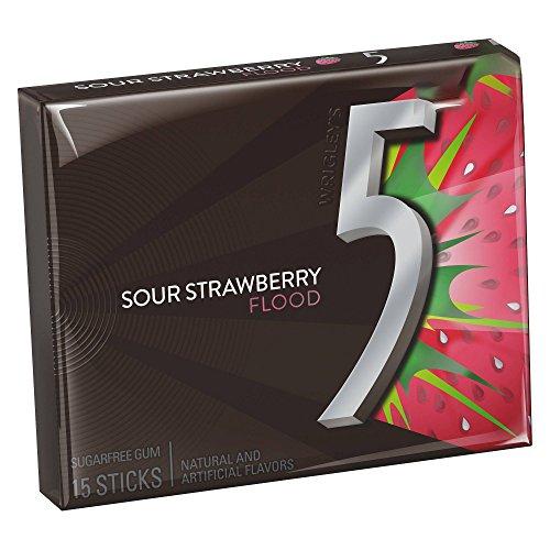 Wrigley's 5 Gum Strawberry Flood Sugarfree Gum ストロベリーフラッドシュガーフリーガム [並行輸入品]