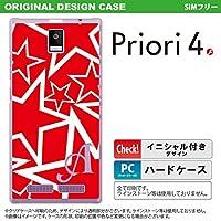 FTJ162D スマホケース Priori4 ケース プリオリ4 イニシャル 星 赤×白 nk-pri4-1120ini A