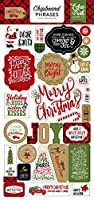 Echo Park Paper Company CCH159022 Celebrate Christmas 6x12 Chipboard Phrases Paper, Red, Green, Tan, Burlap, Black