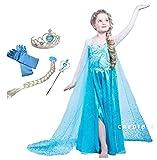 CREDIBLE アナと雪の女王 エルサ 風 子供用 コスチューム 豪華6点 セット ( プリンセスドレス , ハートのティアラ , 魔法のステッキ , 三つ編みウィッグ , 手袋 , CREDIBLE®オリジナルグッズ ) 110cm TO331