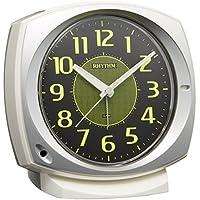 リズム時計 目覚まし時計 アナログ コールマン657 集光文字板 連続秒針 電子音 アラーム 銀色 RHYTHM 8RE657SR19