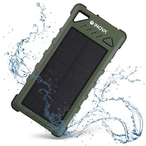 INOVA 急速充電器 ソーラー 防水 防塵 耐衝撃 大容量 16000mAh 2台同時充電 LEDライト カラビナ付 IP67 世界基準 iPhone Android タブレット 防災 アウトドア PSE 認証済 - カーキ