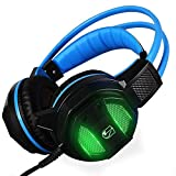 ゲーミングヘッドセット ARCHEER PS4用 ゲーム用ヘッドセット 高音質 マイク内蔵 LED照明 3.5mmステレオゲーミングヘッドホン ヘッドアーム伸縮可能 重低音 騒音隔離 音量調節機能付き 有線サラウンドサウンド ゲーミング プレイステーション4 PS4 / Xbox One / PC/iPhone/パソコン/タブレット/スマホなど対応 AH19