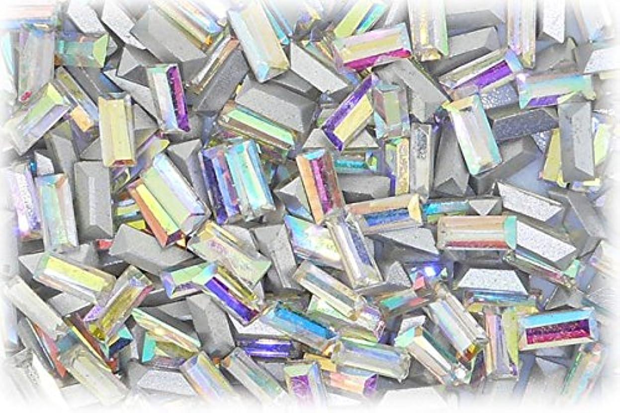 パフバイソンまぶしさSHAREKI CRYSTAL Vカット (チャトン) ラインストーン バケット (四角形)レインボー 3mmx7mm 4個入りx3セット=12個  rai-3x7