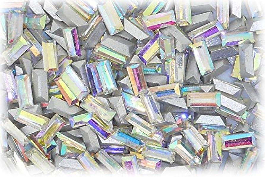 レディ考古学改善するSHAREKI CRYSTAL Vカット (チャトン) ラインストーン バケット (四角形)レインボー 3mmx7mm 4個入りx3セット=12個  rai-3x7