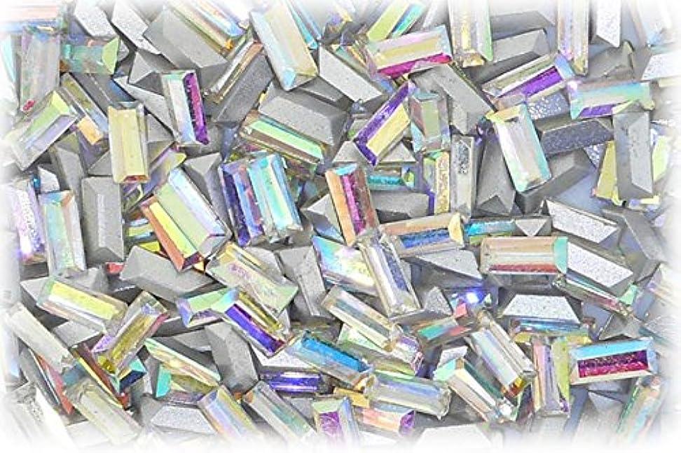ベット飢饉脱獄SHAREKI CRYSTAL Vカット (チャトン) ラインストーン バケット (四角形)レインボー 3mmx7mm 4個入りx3セット=12個  rai-3x7