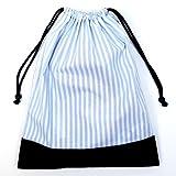巾着・大 体操服入れ・体操服袋  ベーシックストライプ・水色 × 帆布・紺 日本製