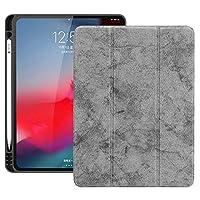 Mrsiy1128 iPad Pro 12.9インチ2018ケース、ペンスロット付き横フリップレザーケースケース三つ折りホルダー&iPad Pro 12.9用のウェイクアップ/スリープ機能(2018) (色 : グレー)