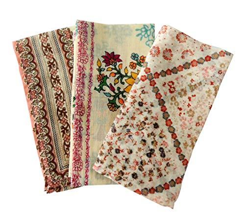 バンダナ かわいい 花柄 3枚セット インド綿 スカーフ アジアン 北欧 お弁当包み ピンク ギフト プレゼント...