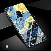 Samsung Galaxy S9 ケース ギャラクシー S9 ケース SC-02K/SCV38 docomo au サンスム スマホケース 背面カバー TPU ガラスケース 油絵風 はな B