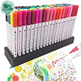 100 Unique Colors Dual Tip Brush Pens Non-Toxic Odorless Markers Set Fineliner Tip 0.4 and Brush Tip for Coloring Books, Drawing, Painting,Calligraphy Bullet Journal GC-100W