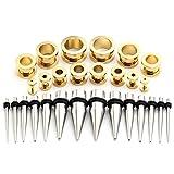 Piercingj ステンレス ボディジュエリー 拡張器 ボディピアス/ボディーピアス  各サイズ (2-10mm) 14ペア  3カラー アクセサリーケースを提供 (鋼色 +ゴールド)