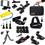 Accessories Kit For Gopro Hero 4 3 3+ Black/Silver - Bicycle Handlebar/Seatpost Clamp with Three-way Adjustable Pivot Arm + 2x Surface J-Hook + 360 Degree Rotation Wristband + Octopus Tripod + Frame Mount Housing + Quick Release Buckle + Large Travel Bag + Bicycle Vented Helmet Safety Strap + 2x Flat + 2x Curved Mounts with 3M Adhesive Pads + Head Belt + Remote Wrist Strap + Floating Handle Grip + Quick Release Buckle + Tripod Adapter + 11 Thumb Screw - extremeART 18-in-1 [並行輸入品]