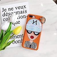 カード収納付き iPhoneX/XS XSMAX iPhone7/8 plus キラキラ メガネ 帽子 リップ iPhone 7 7plus ソフト ケース ストーン iPhone 6 6s 6plus 6splus フラワー (iPhoneXSMAX, オレンジ)