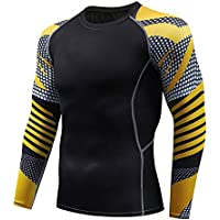 Rash Defender Sportswear New Men's Compression Shirt Fitness Personality Fashion Brand Flower Arm Long Sleeve Quick Dry T-Shirt