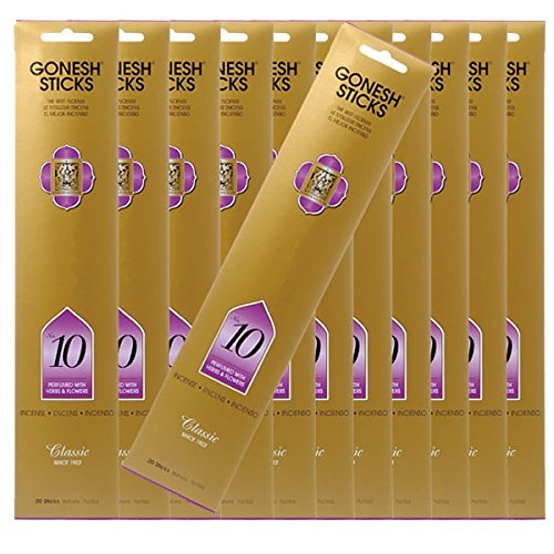 GONESH ガーネッシュ お香スティック No.10 -ハーブアンドフラワー- x12パックセット(合計240本入り)