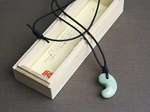 古代勾玉(まがたま)ペンダント ヒスイ[翡翠輝石 Jadeite]縦約30mm×横約20mm×厚み約8.5mm【桐箱入】
