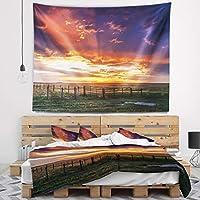 "Designart TAP14053-39-32「大草原の劇的な夕焼け」の風景タペストリー毛布の装飾家のための壁アート、ミディアム:39""x 32""、軽量ポリエステル生地で作成されました"