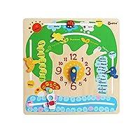 木製時計のおもちゃ 赤ちゃんおもちゃ 積み木 幾何 パズル 知育おもちゃ 時計 時間を学ぶ 時計パズル  数字 英語の勉強 時計の勉強 (B)