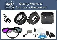 High Definition 0.43X広角と2x望遠レンズキットPlus 3フィルターとレンズアダプタfor Panasonic ag-dvx100b ag-dvc80Canon xl1xl2とすべてのビデオカメラwith 72mmフィルタサイズ