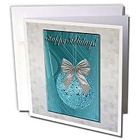 ビバリーターナークリスマスデザイン–グリーンオーナメントwithシルバー弓、Happy Holidays–グリーティングカード Set of 12 Greeting Cards
