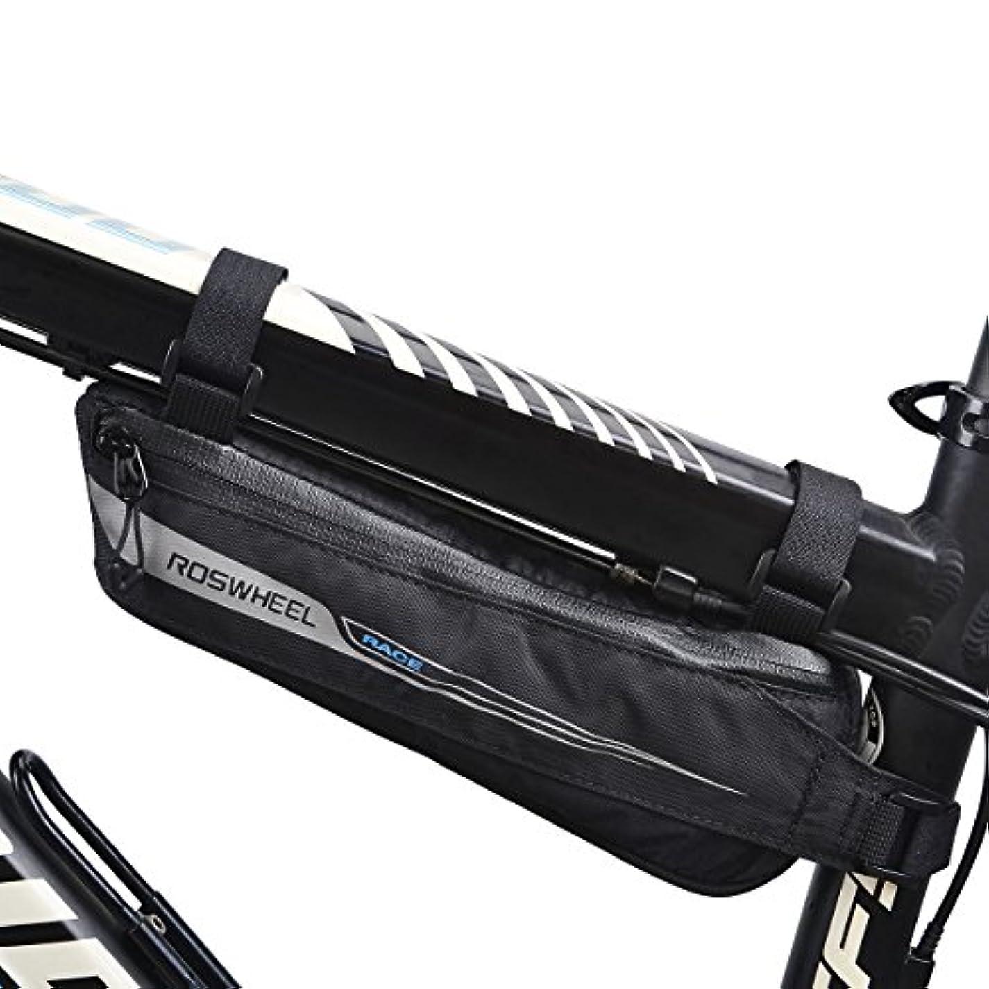 篭おんどり盗賊flexdin自転車三角形フレームツールバッグ空気力学的デザインfor Road Racing/ツーリングサイクリング、シート下ロードバイクトップチューブパックポーチ防水0.6lブラック