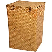 ランドリーバスケットラタン蓋付きポータブル汚れたハンパー衣類雑貨ストレージバスケット (サイズ さいず : 29 * 29 * 43cm)
