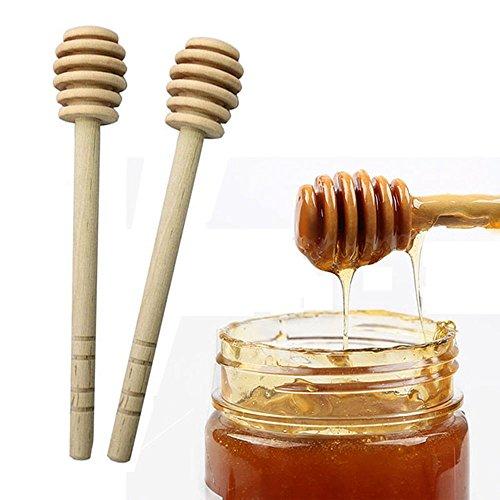 LULAA ハニースティック 蜂蜜 撹拌棒 木製 ハニー ミルクティー コーヒー ジャム 2個