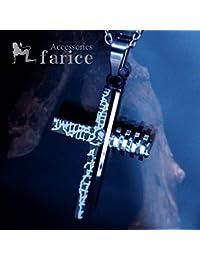 幾何学模様彫り&4列メカニカルパーツ装飾 アシンメトリークロス(十字架)デザイン ブラックカラー メンズ ステンレス ペンダント ネックレス