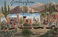 Greetings from Arizona (サボテン) 24 x 36 Signed Art Print LANT-6502-710