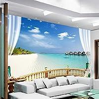 Xbwy 3D壁の壁画の壁紙海辺の風景地中海のビーチウィンドウ景色写真壁紙リビングルームホテルの背景3Dフレスコ画-120X100Cm